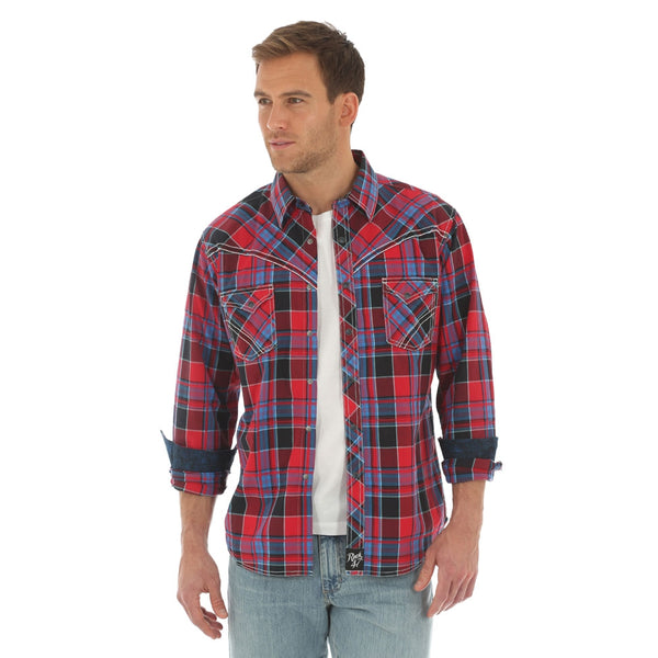 MRC361M Rock 47 by Wrangler Men's Red & Blue Plaid Long Sleeve Western Shirt
