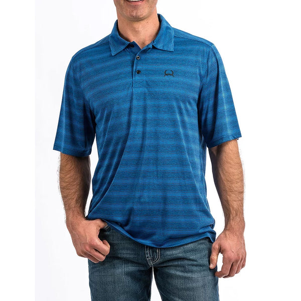 MTK1831001 Cinch Men's Short Sleeve Blue Stripe Arena Flex Polo Shirt