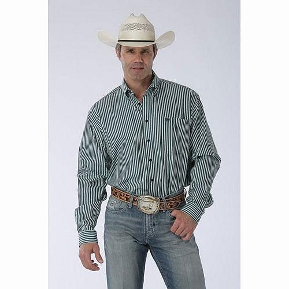 MTW1103978 Cinch Men's Long Sleeve Herringbone Weave Striped Western Shirt