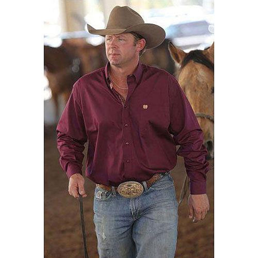 MTW1104103 Cinch Men's Solid Plain Weave Shirt Burgundy