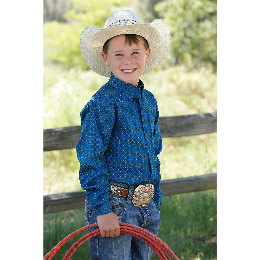 MTW7060230 Cinch Boys Lapis Blue Print Long Sleeve Western Button Shirt