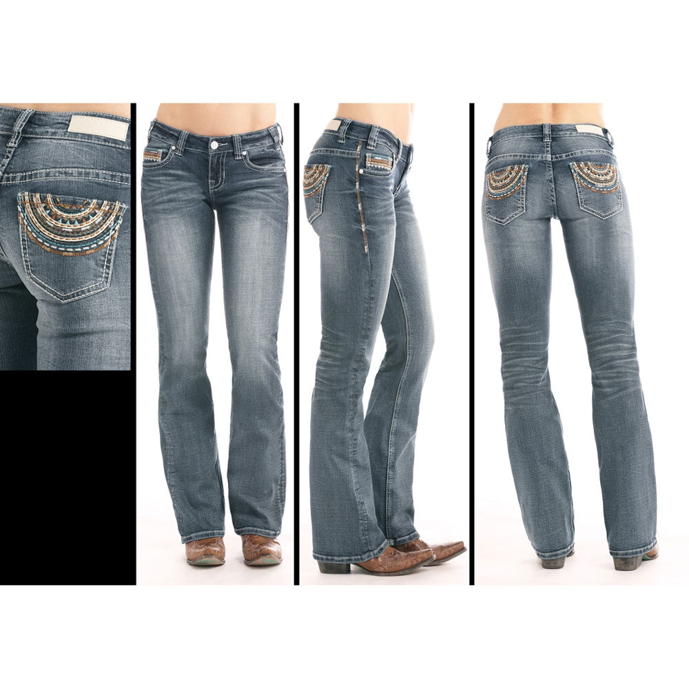 W2-8726 Rock & Roll Cowgirl Juniors Boyfriend Jeans Multi-Colored Pocket  Stitching