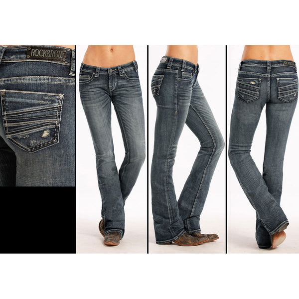 W6-8471 Rock & Roll Cowgirl Juniors Rival Boot Cut Jeans Denim Applique