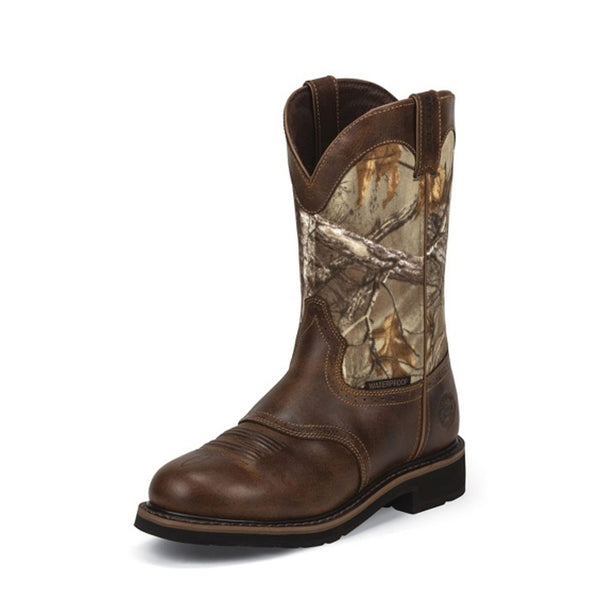 WK4675 Justin Men's Camo Rugged Tan Cowhide Waterproof Work Boot