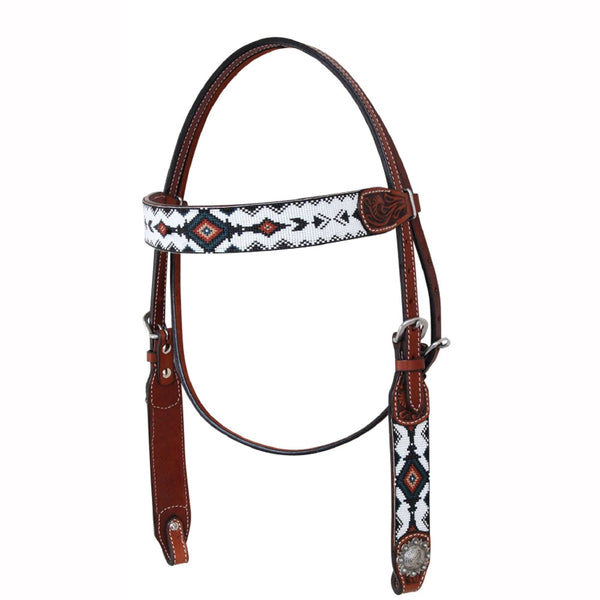 X0221-1004 Circle Y White Beaded Headstall with Tassels