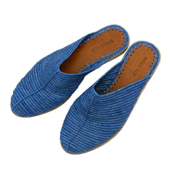 Raffia Closed-Toe Slide (Blue)