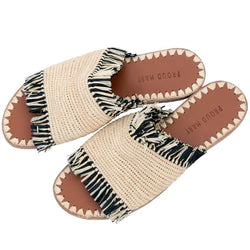 Raffia Fringe Slide (Natural/Black)