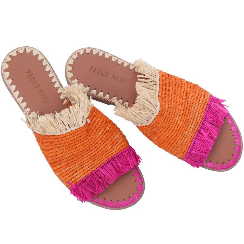 Raffia Fringe Slide (Orange/Pink/Natural)