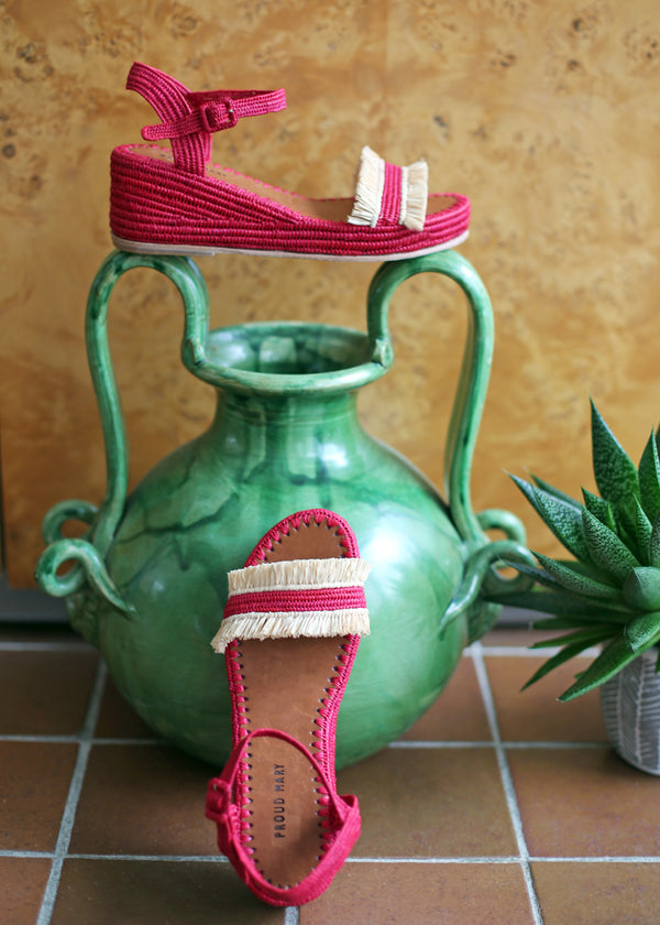 Raffia Wedge Fringe Sandal (Red with Natural Fringe)