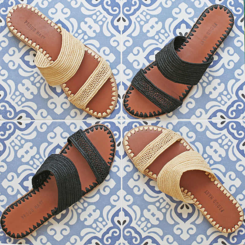 Raffia Two-Strap Slide (Black)