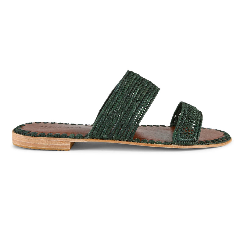 Raffia Two-Strap Slide (Forest)
