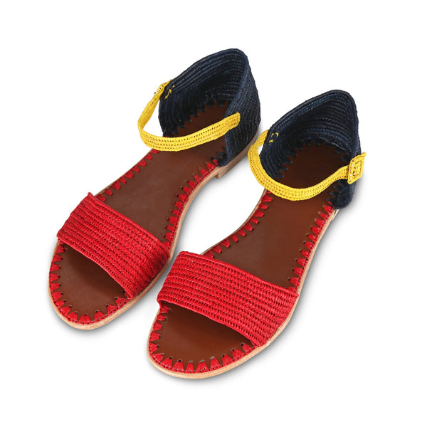 Raffia Sandal (Red/Blue with Yellow)