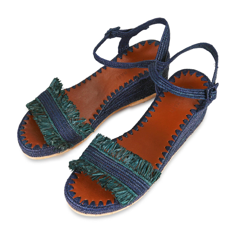 Raffia Wedge Fringe Sandal (Navy with Forest Fringe)