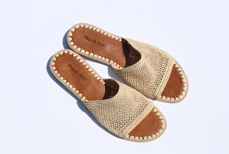 Raffia Open Weave Slide (Natural) - Sample Sale!