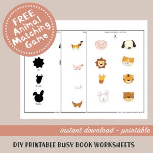 Animal Head Matching Printable Busy Book Worksheets FREE