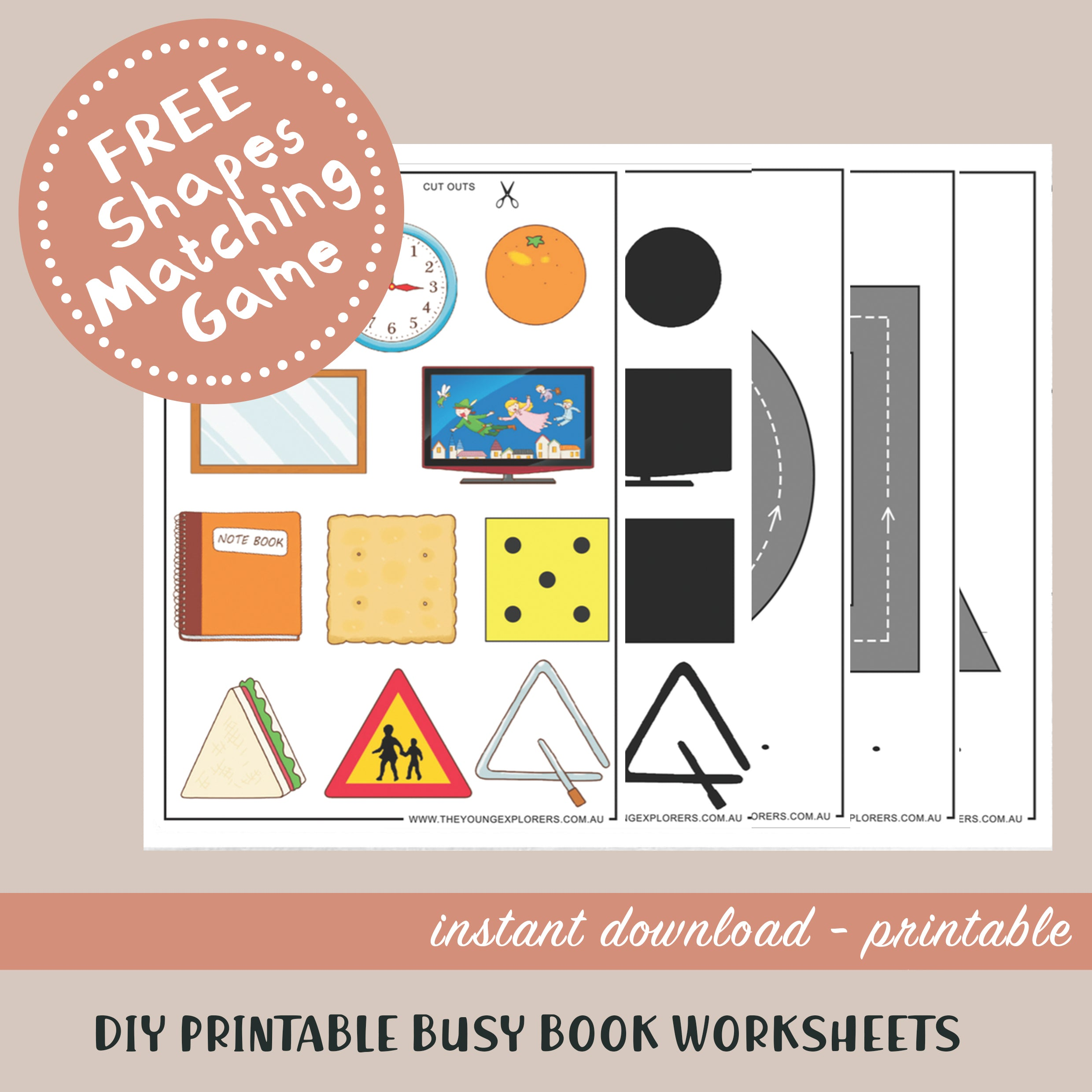 Shapes Matching Printable Busy Book Worksheets FREE
