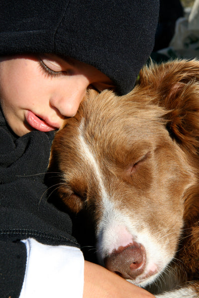 young boy and dog cuddling