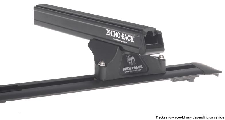 Heavy Duty RLTP Trackmount Black 2 Bar Roof Rack Cross Bars for Nissan Frontier and Suzuki Equator by Rhino-Rack