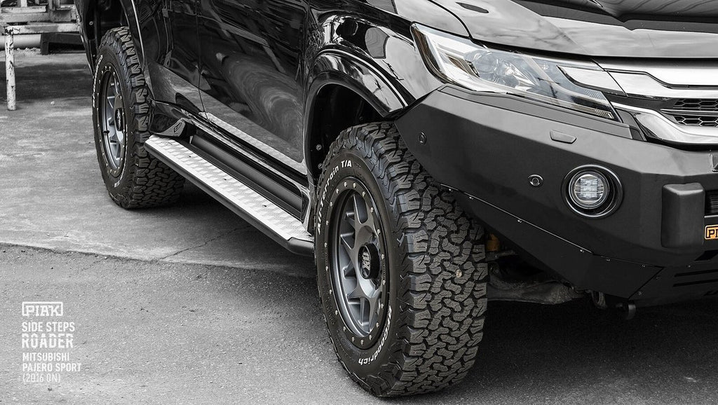 PIAK Roader Side Steps In Checker Plate Anodized For Mitsubishi Pajero Sport QE 2016+