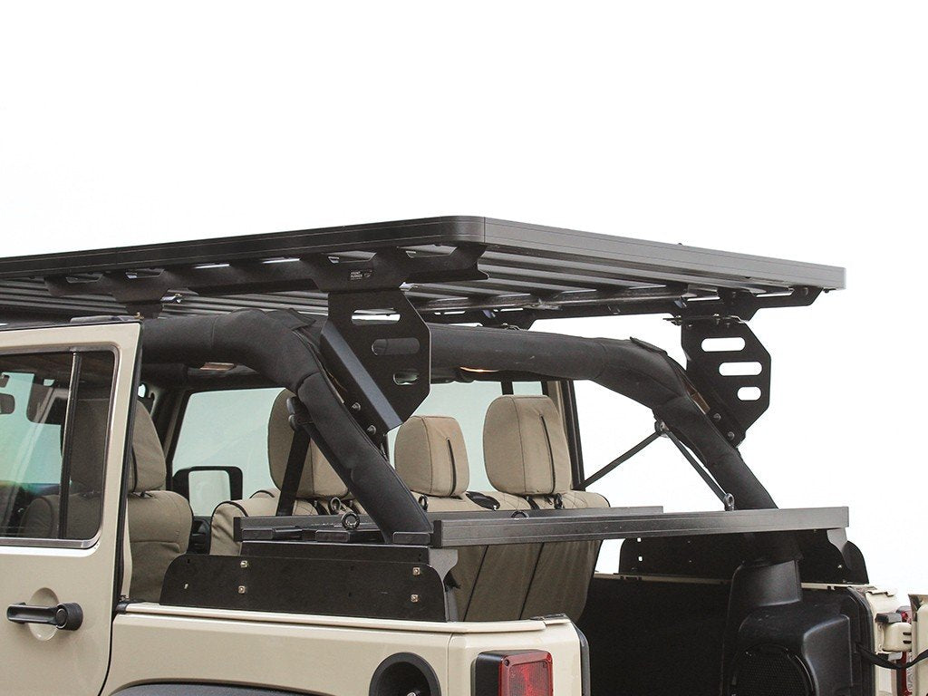 backside view Slimline II Roof Rack For Jeep Wrangler JKU 4 Door (2007-2018) - by Front Runner Outfitters