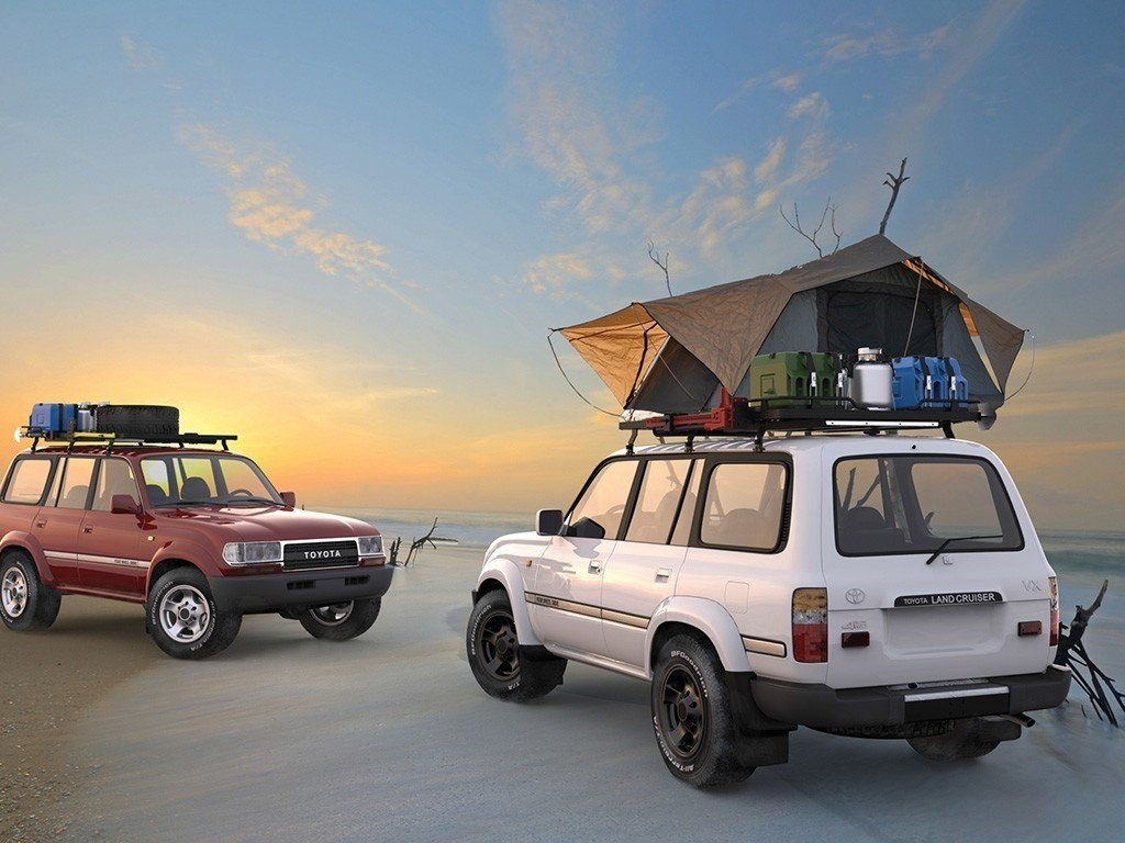 Front Runner Slimline II Roof Rack Kit / Tall For Toyota Land Cruiser 80 with roof top tent on top