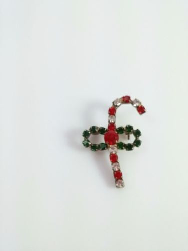 Vintage Brooch Red Green Rhinestone Candy Cane Holiday Christmas Pin
