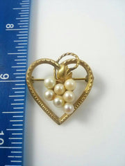 Demi Parure DCE 14KT GF Faux Pearl Screw Back Earrings with Heart Shaped Brooch