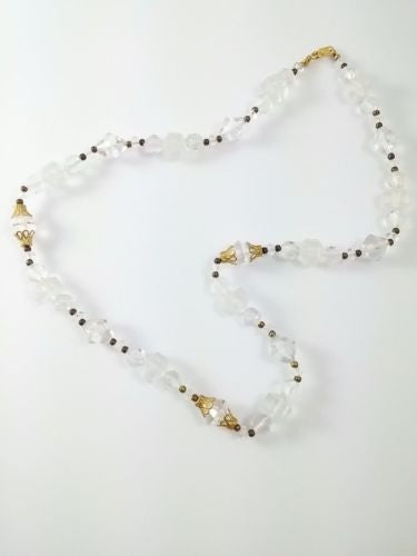 Vintage 50s 60s Beaded Necklace Clear and Black w/ Filigree Accents