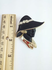 Vintage Torino 1980s Black and Gold Lady in Hat Brooch