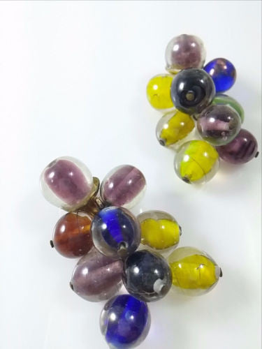 Vintage 50s 60s Earrings Glass Beads Dangle Multi Colored