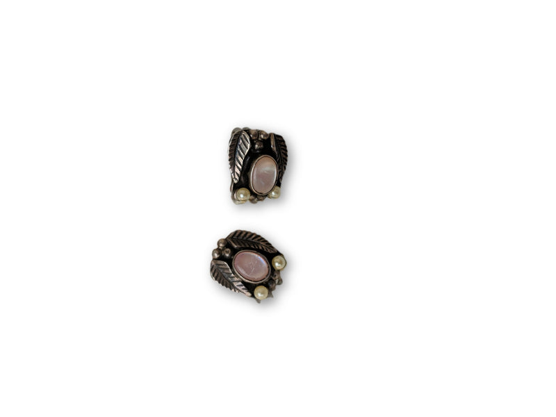 Vintage Silver Clip Earrings w/ Pink Moon Glow and Pearl Accents