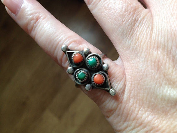 Vintage Silver Ring Turquoise and Coral Stones Native Size 5 1/2