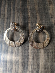 Gold Tone Textured Hoop Dangle Clip Earrings