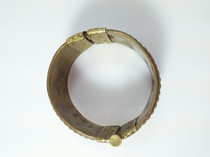 Vintage Bracelet Bangle Brass Tone Push Pin Hinged Cuff Bold