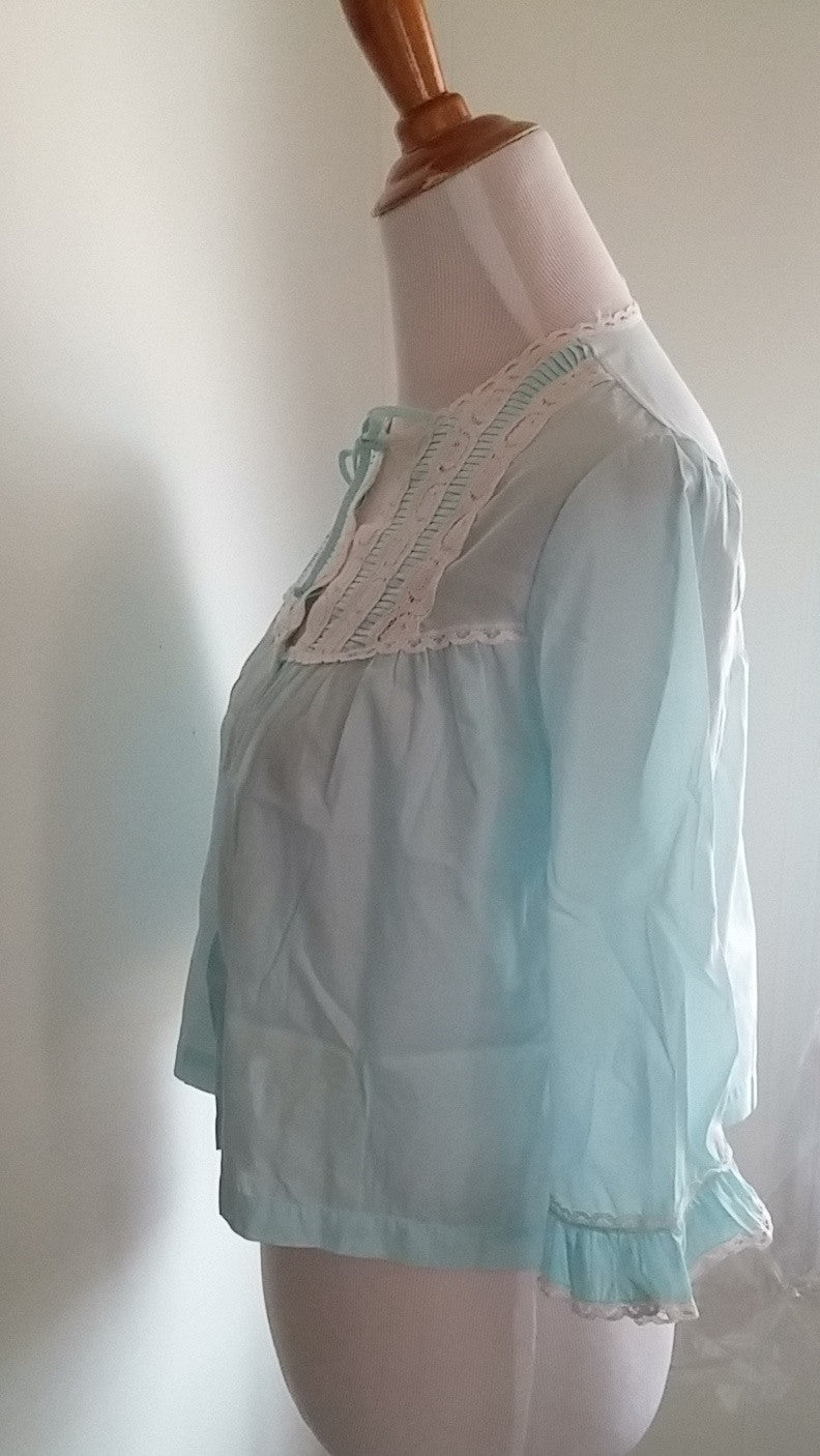 Vintage Komar Womens Bed Jacket Light Blue White Lace Single Pocket Robe Size Small - Dirty 30 Vintage | Vintage Clothing, Vintage Jewelry, Vintage Accessories