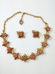 Vintage Thermoset Necklace & Earrings Bronze Glitter Centers Accented by Gold Tone Diamond Frame