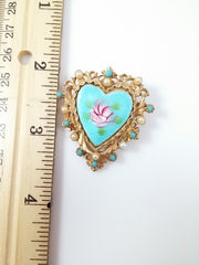 Vintage Turquoise Beaded Necklace & Heart Brooch by ART