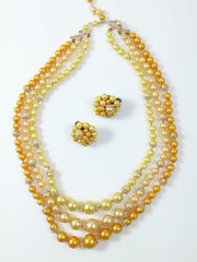 Vintage 50s 60s Multi Strand Necklace and Cluster Earrings Warm Yellow and Gold Tones