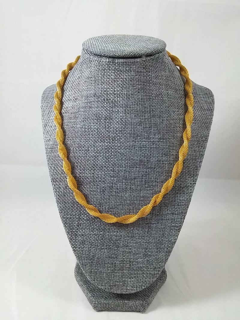 "Vintage 70s 24"" Necklace Gold Tone Twisted Mesh"