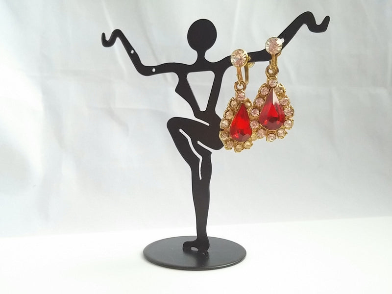 Vintage 60s Rhinestone Drop Earrings Red Tear Drop Center