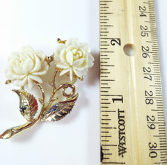 Vintage Rose Brooch Carved Celluloid Plastic Flower Pin Gold Tone - Dirty 30 Vintage | Vintage Clothing, Vintage Jewelry, Vintage Accessories