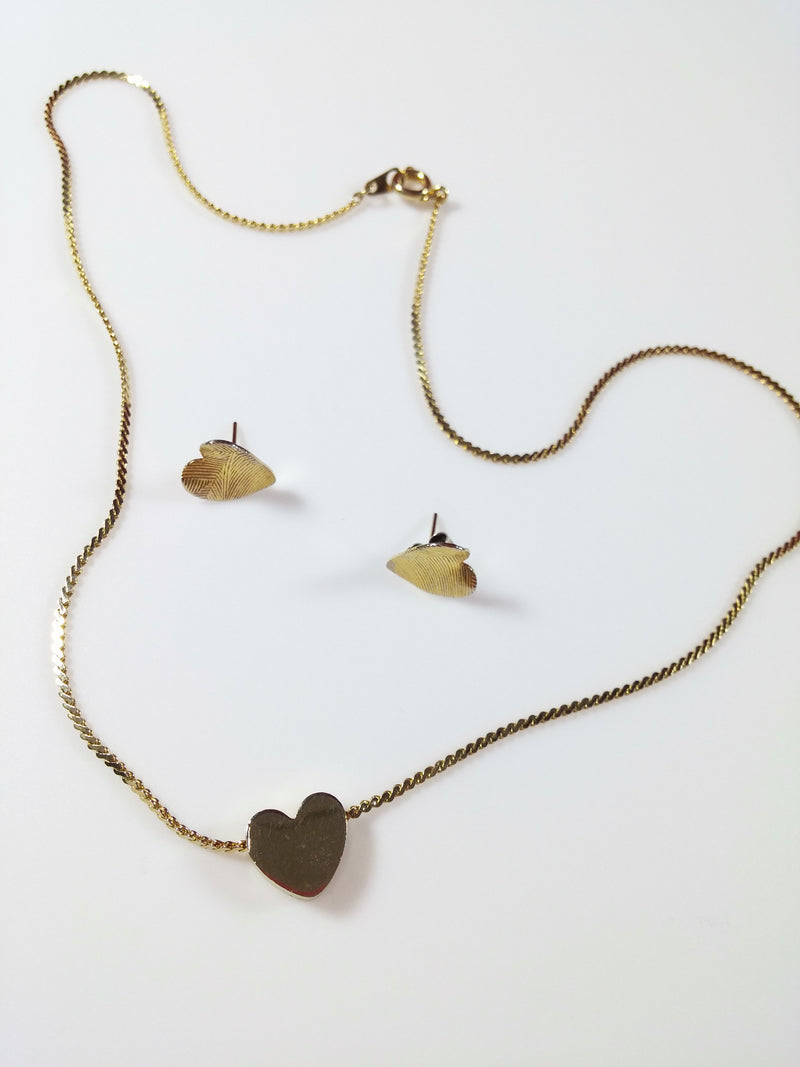 Vintage 80s Heart Slide Necklace and Post Earrings Gold Tone