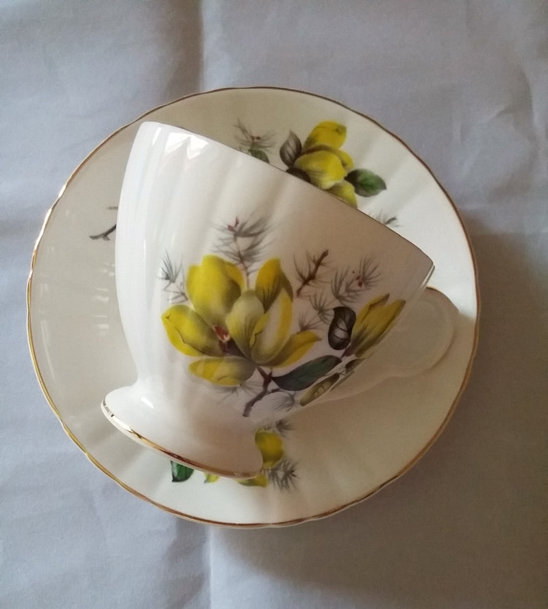 Vintage Tea Cup and Saucer Royal Grafton Bone China Yellow Rose Gold Trim
