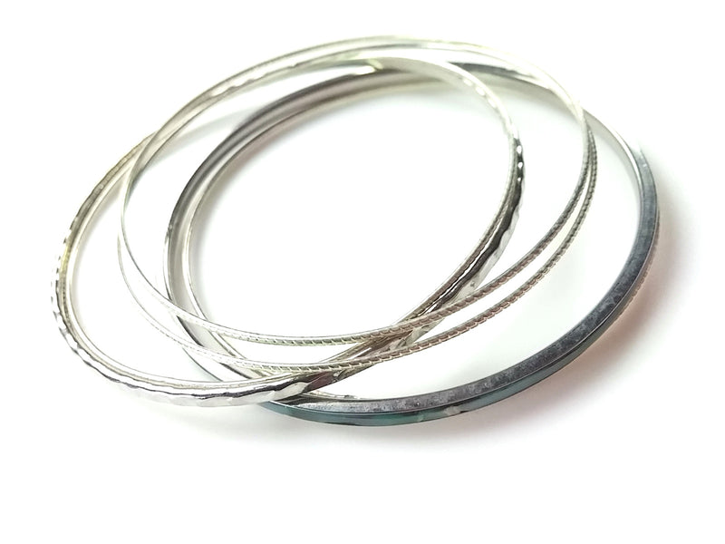 Classic 80s Bangle Bracelets - Silver Tone Blue Enamel Mixed Styles- Make a Statement