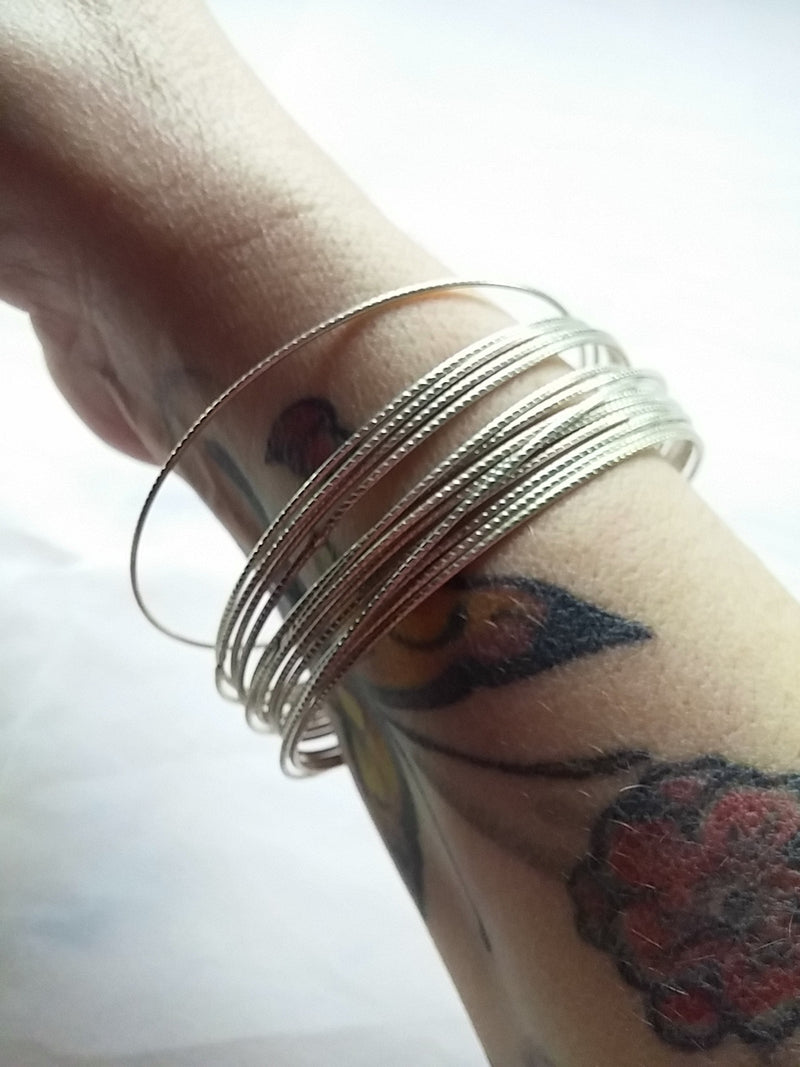 Classic 80s Bangle Bracelets - Silver Tone Mixed Styles- Make a Statement!