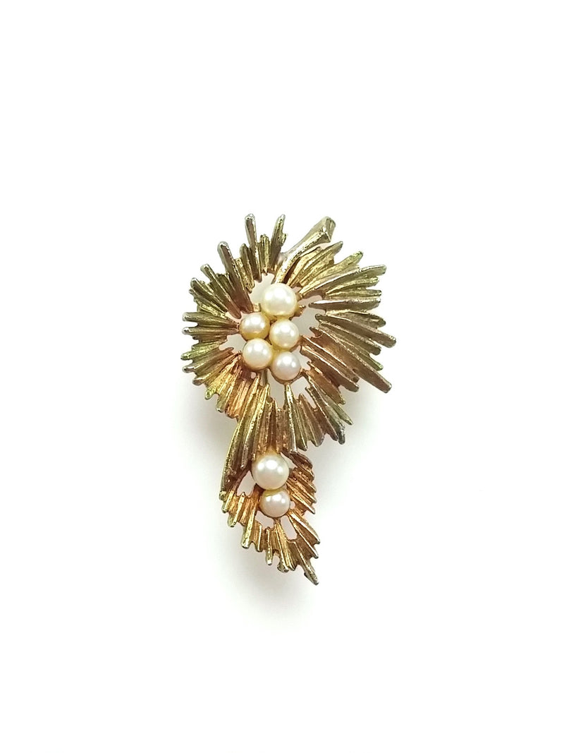 Vintage Brooch Mid Century Modern Abstract Two Tone Starburst Pearl Center