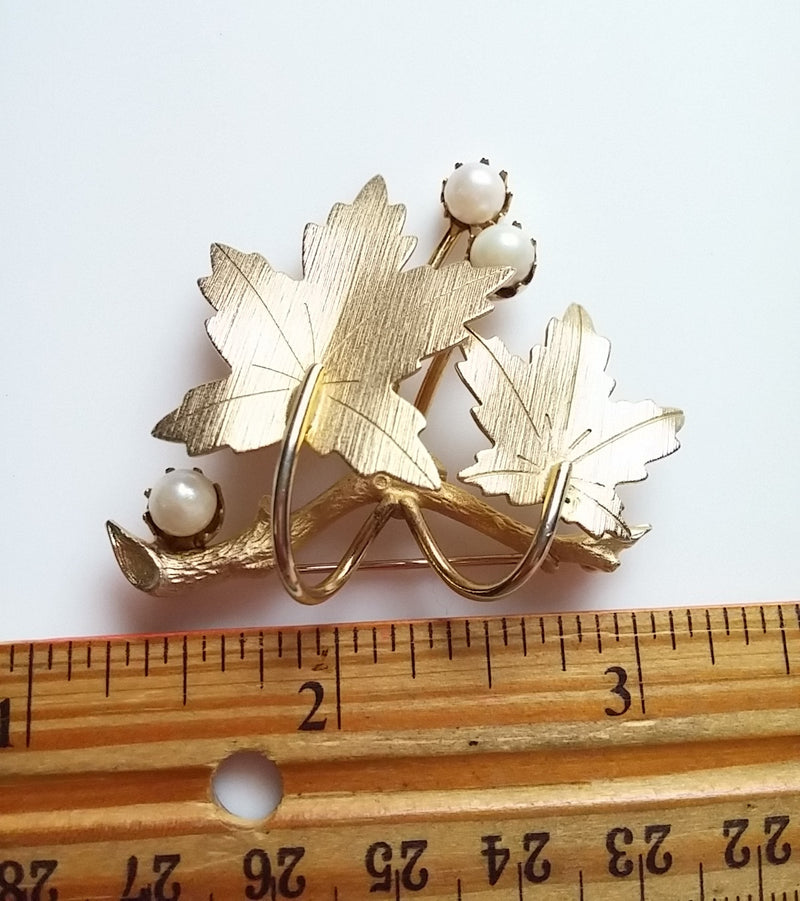 "Vintage Sarah Coventry 1964 ""Precious"" Gold Branch and Leaf and Pearl Pin Brooch"