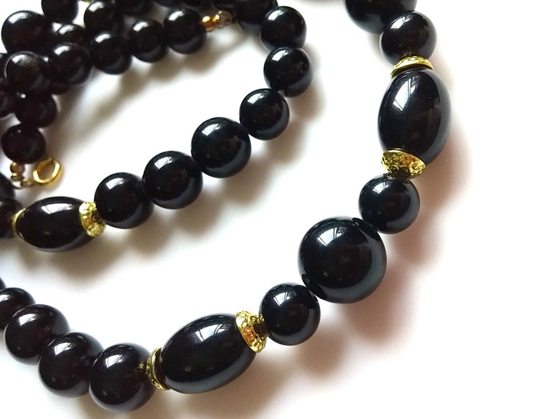"Vintage Black and Gold Beaded ""20 Necklace"