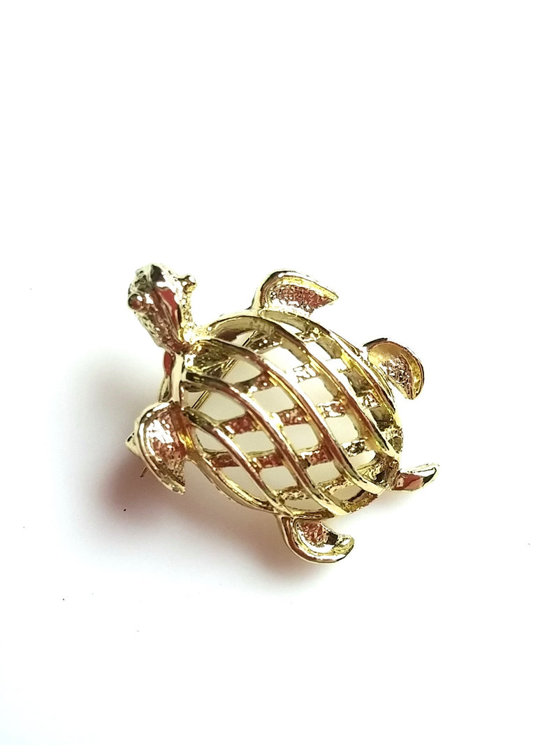 Vintage Gerry's Turtle Brooch Gold Tone Open Weave Tortoise