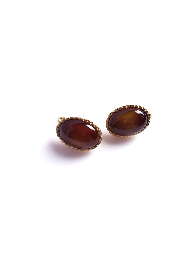 Vintage Earrings Oval Shaped Brown Center Stone